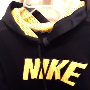 NIKE Mens Navy Blue & yellow Hoodie Sweatshirt L
